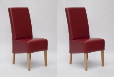 Homestyle GB Oslo Dining Chair (Pair) - Red Bycast Leather