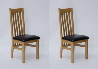 Homestyle GB Perugia Dining Chair (Pair) - Oak and Dark Brown Leather