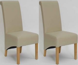 Homestyle GB Richmond Bonded Leather Dining Chair - Matt Bone (Pair)