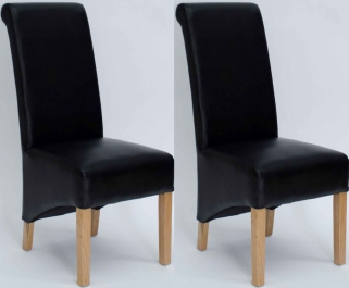 Homestyle GB Richmond Bonded Leather Dining Chair - Matt Noir (Pair)