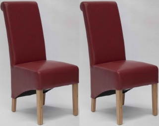 Homestyle GB Richmond Bonded Leather Dining Chair - Red (Pair)