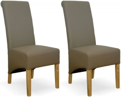 Homestyle GB Richmond Dining Chair (Pair) - Mushroom Bonded Leather