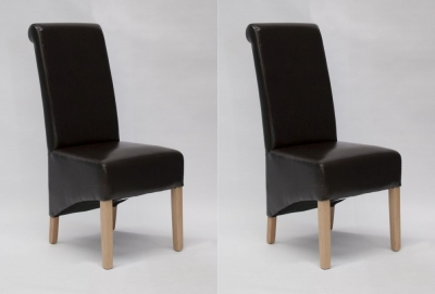 Homestyle GB Richmond Dining Chair (Pair) - Brown Bonded Leather