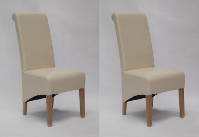Homestyle GB Richmond Dining Chair (Pair) - Ivory Bonded Leather