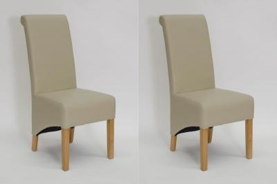 Homestyle GB Richmond Dining Chair (Pair) - Matt Bone Bonded Leather