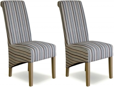 Homestyle GB Richmond Dining Chair (Pair) - Striped Natural Fabric