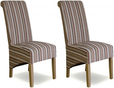 Homestyle GB Richmond Striped Royale Fabric Dining Chair (Pair)