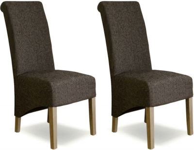 Homestyle GB Richmond Dining Chair (Pair) - Tweed Dark Fabric