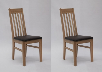 Homestyle GB Sophia Dining Chair (Pair) - Oak and Dark Brown Leather