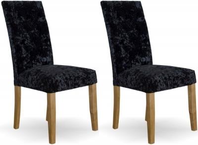 Homestyle GB Stockholm Dining Chair (Pair) - Black Deep Crushed Velvet