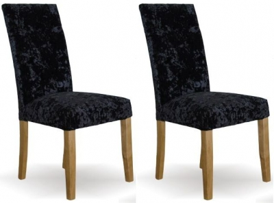 Homestyle GB Stockholm Deep Crushed Velvet Dining Chair - Black (Pair)