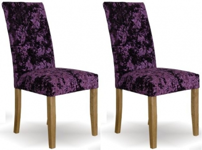 Homestyle GB Stockholm Deep Crushed Velvet Dining Chair - Purple (Pair)
