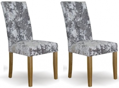 Homestyle GB Stockholm Deep Crushed Velvet Dining Chair - Silver (Pair)