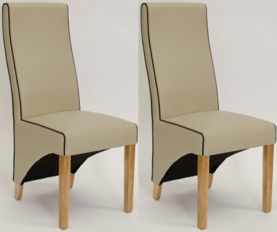 Homestyle GB Wave Bone Cream Contrast piping Dining Chair (Pair)