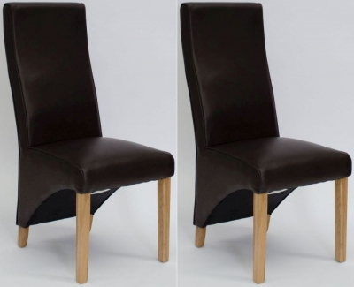 Homestyle GB Wave Coco Bonded Leather Dining Chair (Pair)