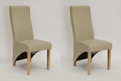 Homestyle GB Wave Dining Chair (Pair) -Matt Bone Bonded Leather