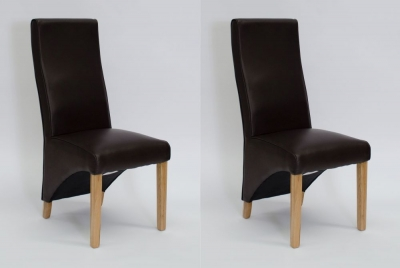 Homestyle GB Wave Dining Chair (Pair) - Matt Coco Bonded Leather