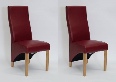 Homestyle GB Wave Dining Chair (Pair) - Matt Ruby Bonded Leather