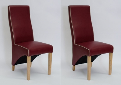 Homestyle GB Wave Bone Contrast piping Dining Chair (Pair) - Monza Matt Ruby