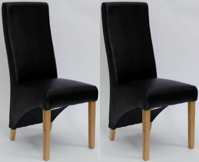 Homestyle GB Wave Noir Bonded Leather Dining Chair (Pair)