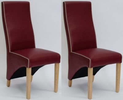 Homestyle GB Wave Ruby Red Contrast piping Dining Chair (Pair)