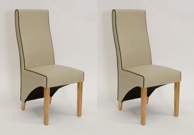 Homestyle GB Wave Noir Contrast Piping Dining Chair (Pair) - Silverstone Matt Bone