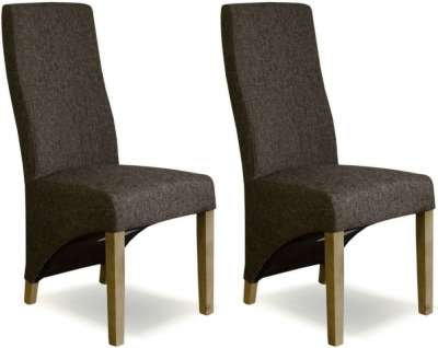 Homestyle GB Wave Dining Chair (Pair) - Tweed Dark Fabric