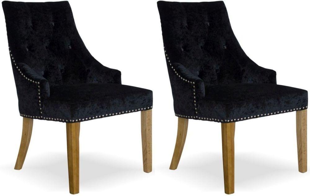Homestyle GB Bergen Dining Chair (Pair) - Black Crushed Velvet