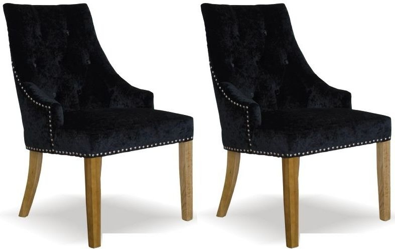 homestyle gb bergen crushed velvet dining chair black pair