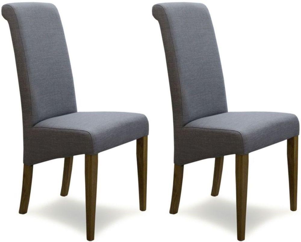 Homestyle GB Italia Dining Chair (Pair) - Light Grey Fabric