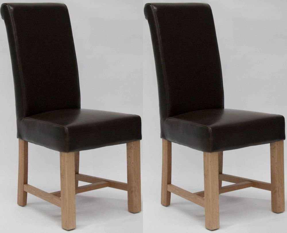 Homestyle GB Louisa Bycast Leather Dining Chair - Brown (Pair)