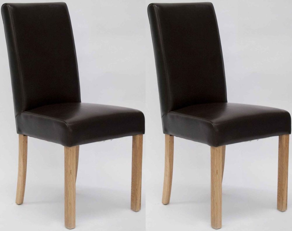 Homestyle GB Marianna Bycast Leather Dining Chair - Brown (Pair)