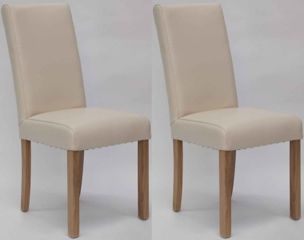 Homestyle GB Marianna Bycast Leather Dining Chair - Cream (Pair)