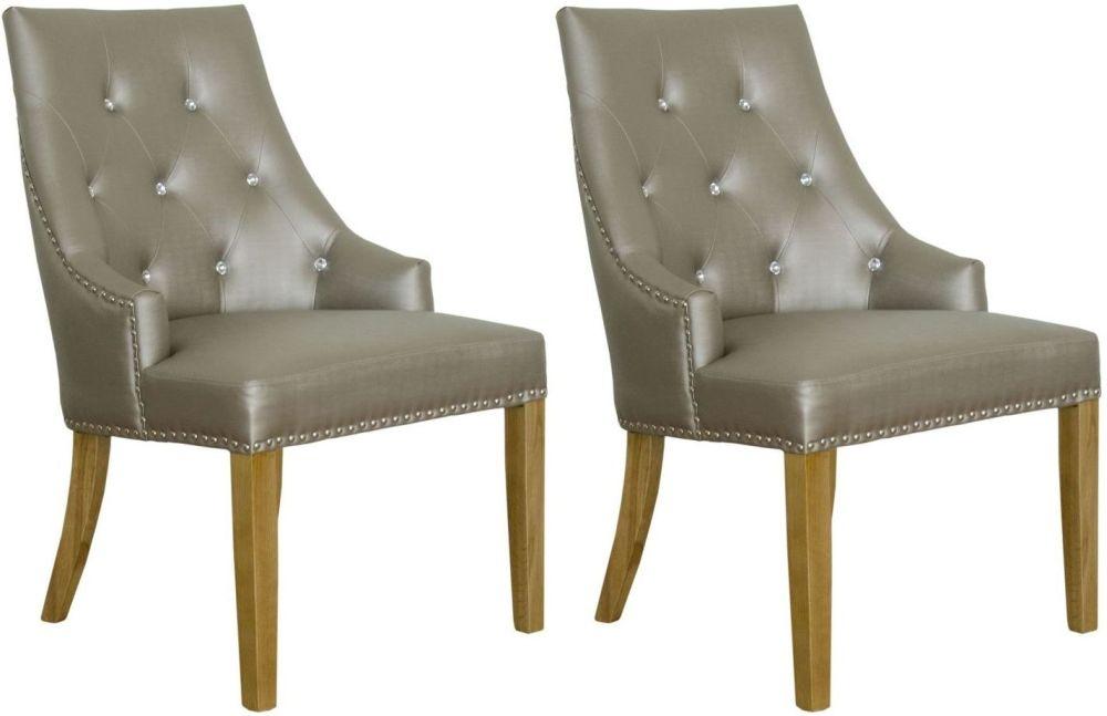 Homestyle GB Marjukka Botton and Knockerback Dining Chair (Pair) - Stone Crystal