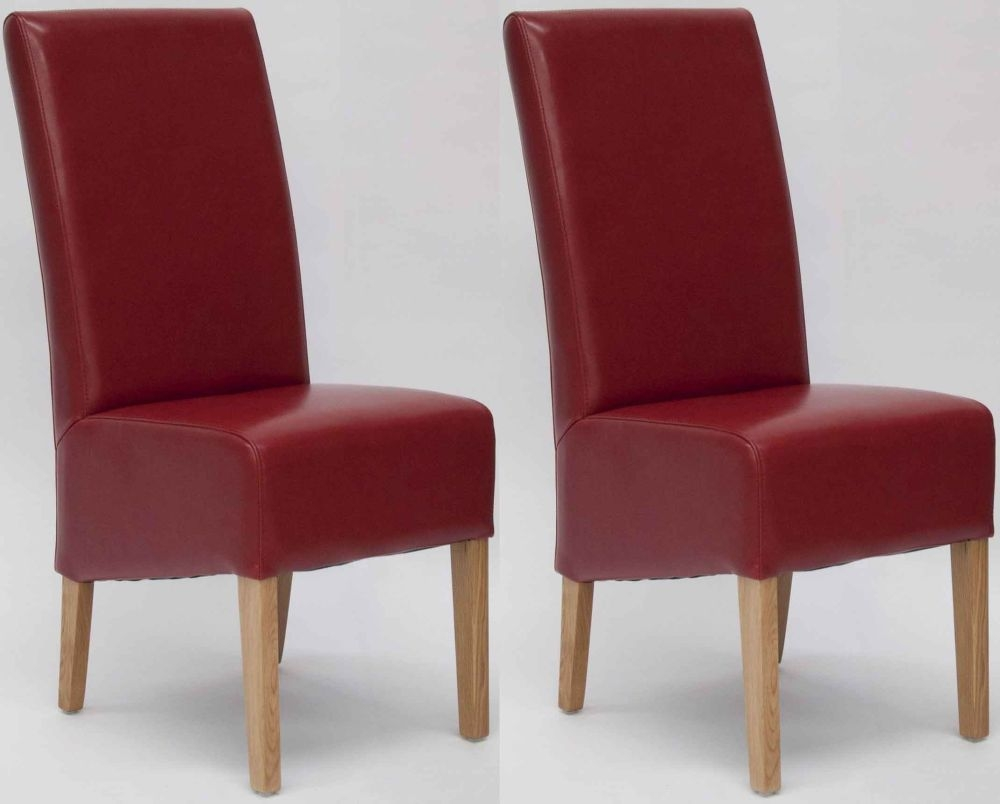 Buy Homestyle GB Oslo Bycast Leather Dining Chair Red Pair Online CFS UK