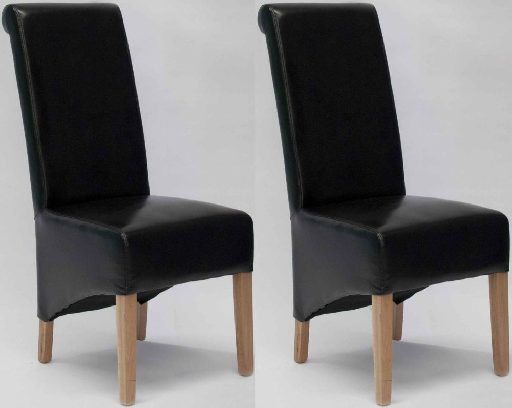 Homestyle GB Richmond Bonded Leather Dining Chair - Black (Pair)