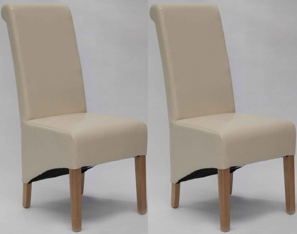 Homestyle GB Richmond Bonded Leather Dining Chair - Ivory (Pair)