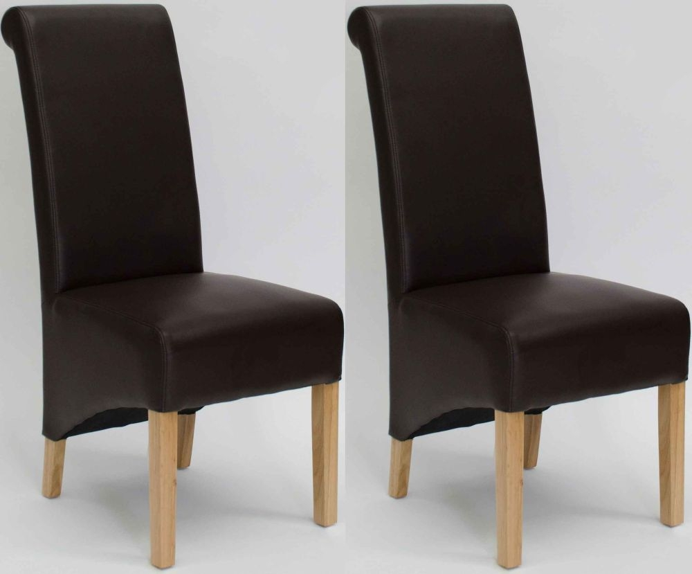 Homestyle GB Richmond Bonded Leather Dining Chair - Matt Coco (Pair)
