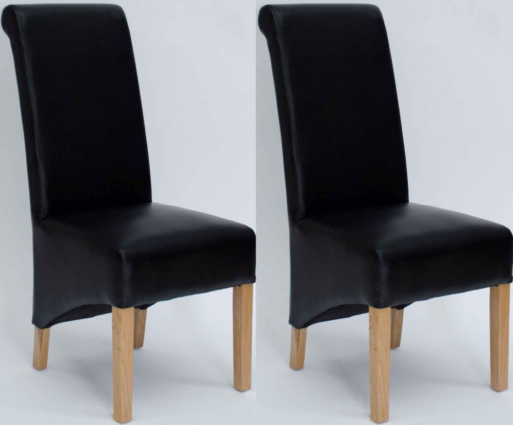 Homestyle GB Richmond Bonded Leather Dining Chair - Matt Noir (Pair)