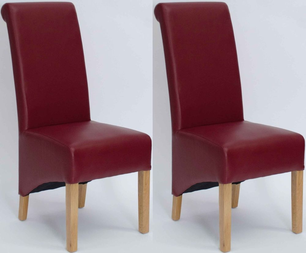 Homestyle GB Richmond Bonded Leather Dining Chair - Matt Ruby (Pair)