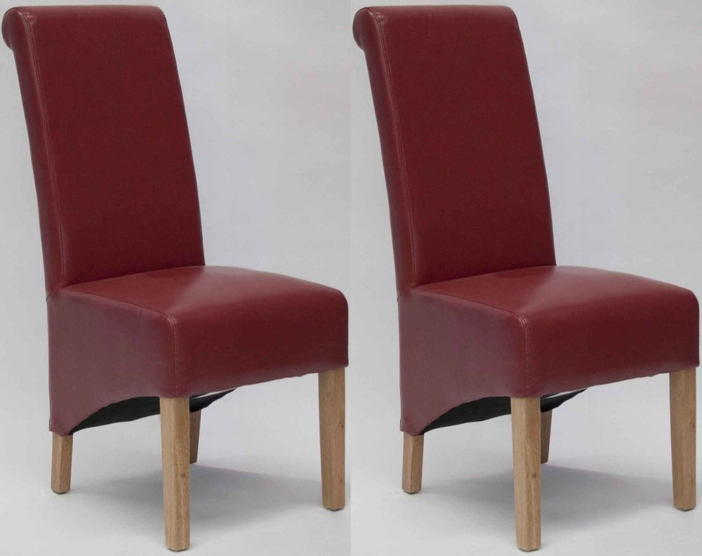 Buy Homestyle Gb Richmond Bonded Leather Dining Chair Red Pair Online Cfs Uk