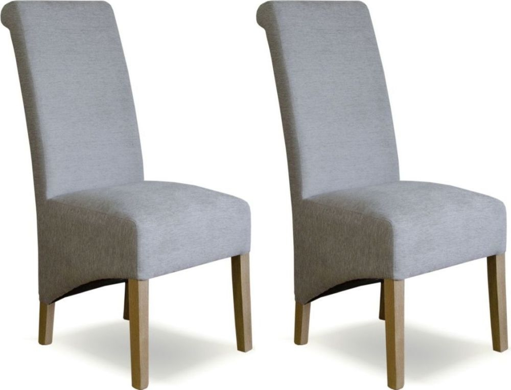 Homestyle GB Richmond Chenille Duck Egg Blue Fabric Dining Chair (Pair)