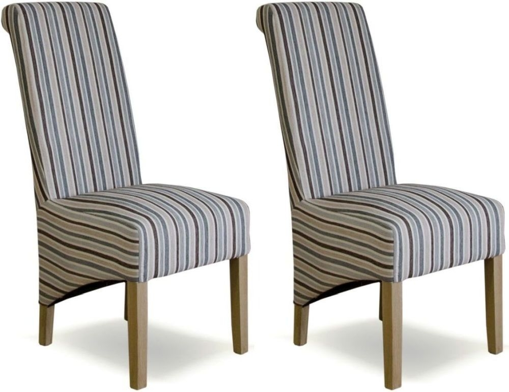Buy Homestyle GB Richmond Striped Natural Fabric Dining Chair Pair Online
