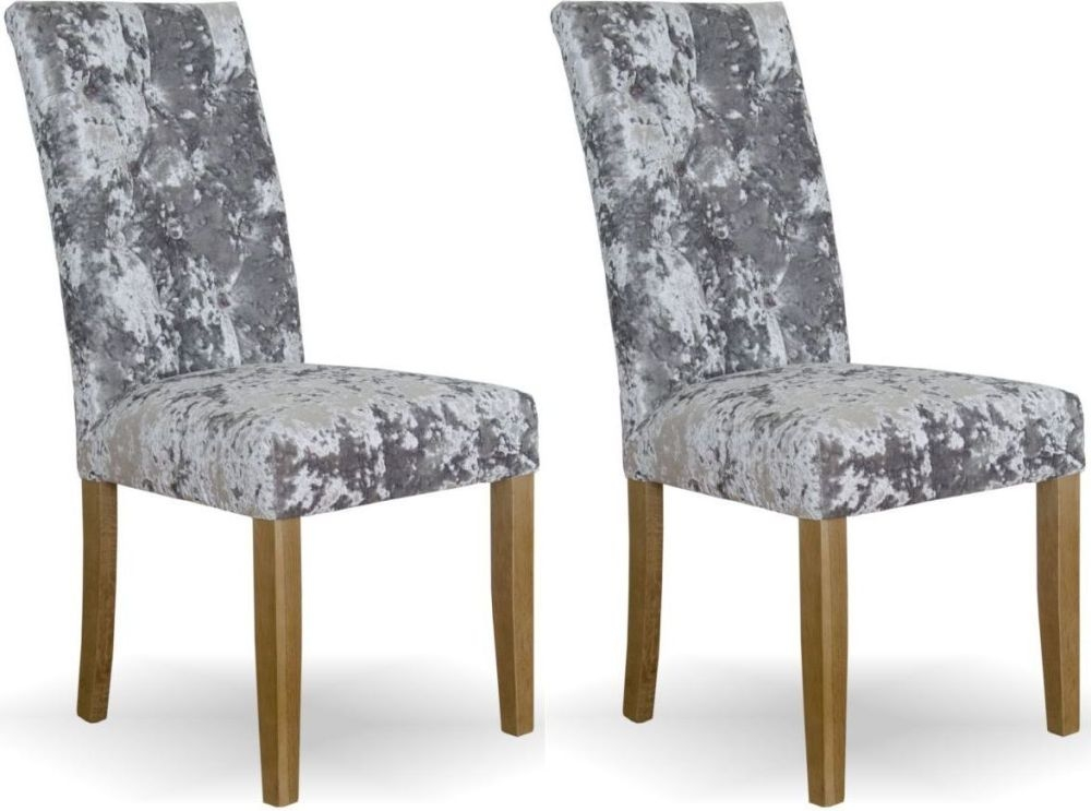 premium selection 4f2e0 4c27e Homestyle GB Stockholm Dining Chair (Pair) - Silver Deep Crushed Velvet