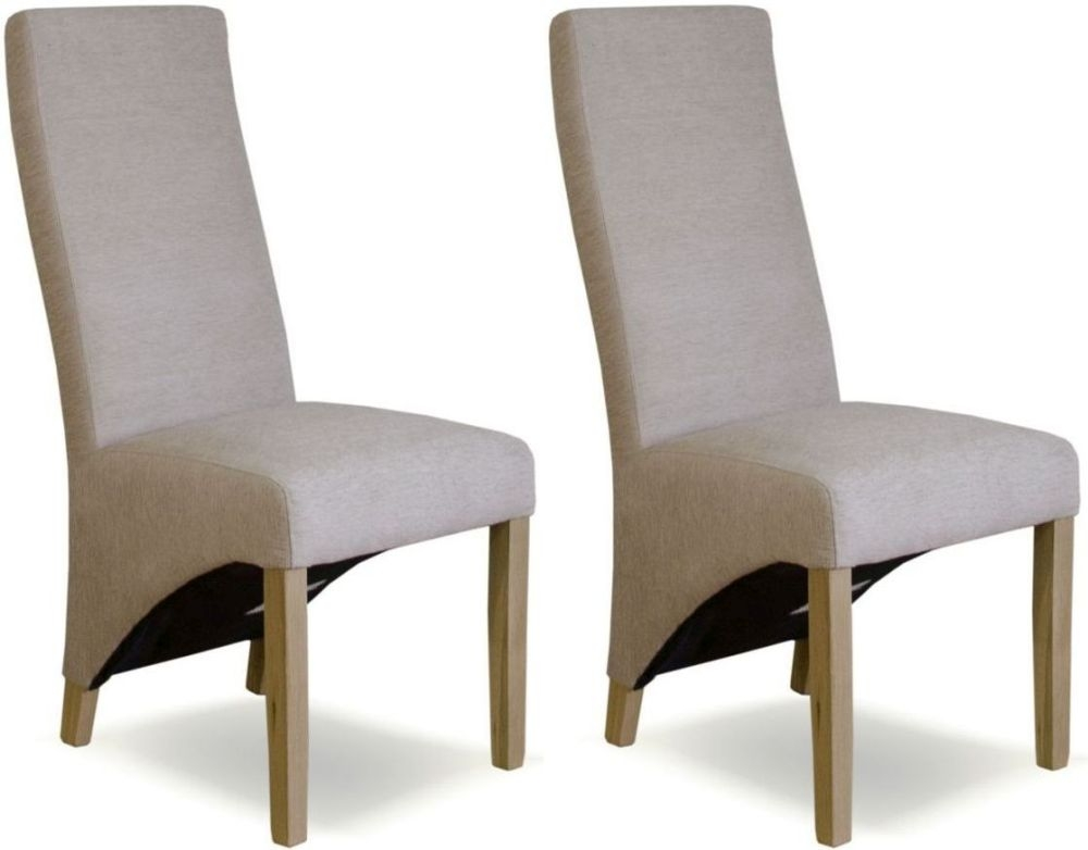 Homestyle GB Wave Chenille Beige Fabric Dining Chair (Pair)