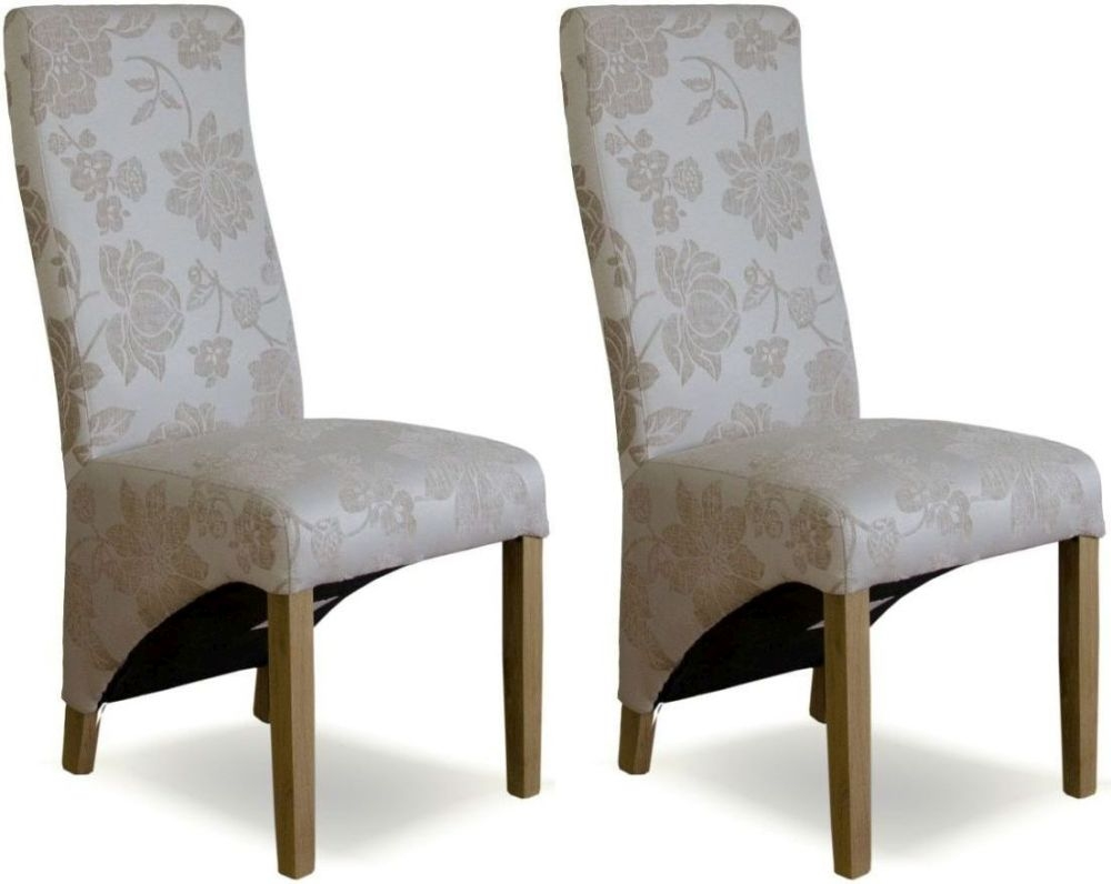 Homestyle GB Wave Floral Cream Fabric Dining Chair (Pair)