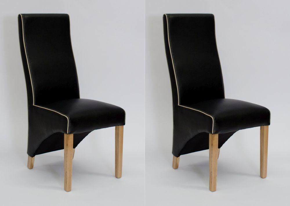 Homestyle GB Wave Bone Contrast Piping Dining Chair (Pair) - Monaco Matt Noir