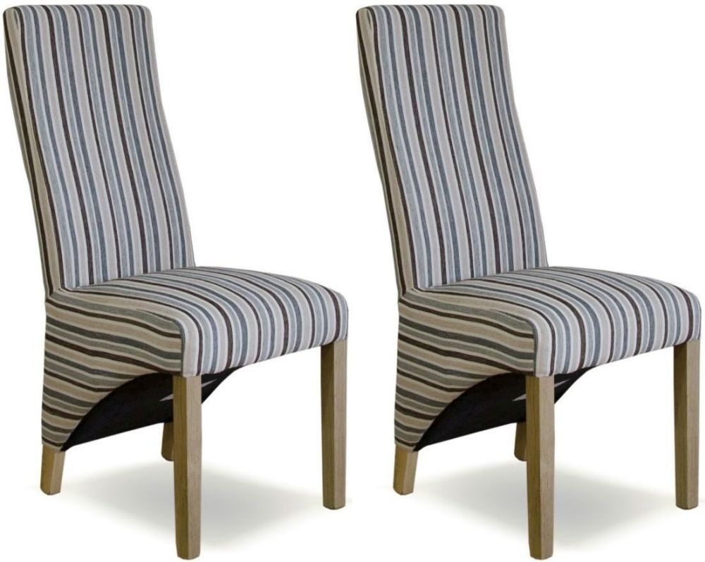 Homestyle GB Wave Natural Striped Fabric Dining Chair (Pair)