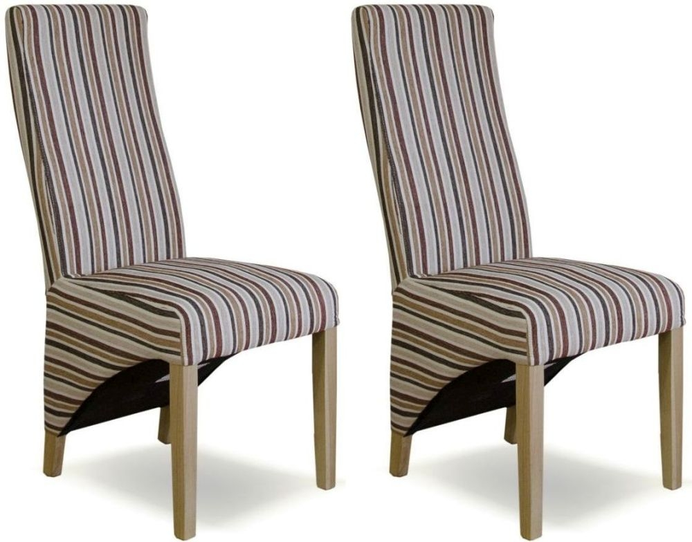 Homestyle GB Wave Royale Striped Fabric Dining Chair (Pair)