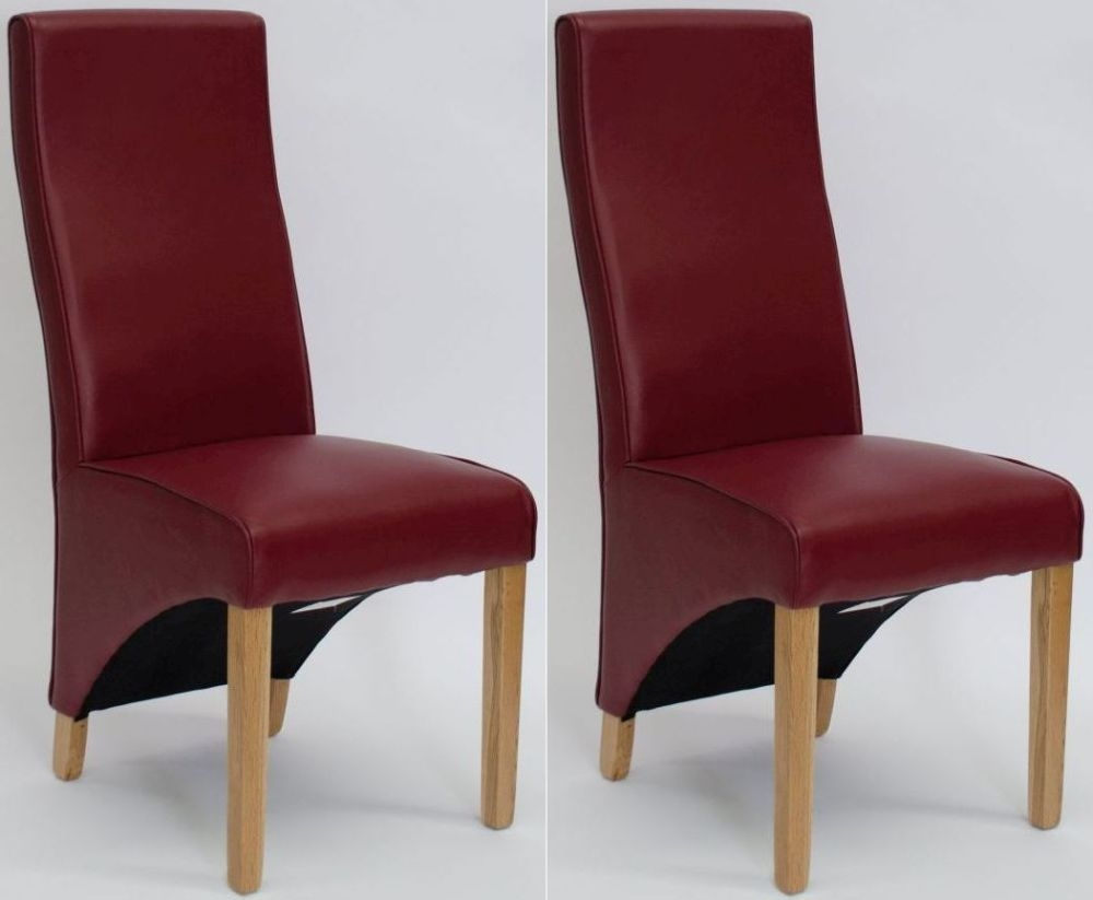 Homestyle GB Wave Ruby Bonded Leather Dining Chair (Pair)